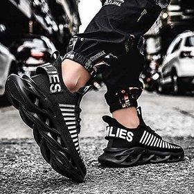 Clymb Men Black Zig Zag Running Sports Shoes