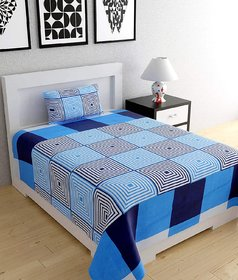 Shakrin Blue Polycotton 3D Printed Single Bedsheet With 1 Pillow Cover