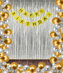 Blooms Mall Standard  Happy Birthday  Banner  + Silver Fringe Curtain  + Silver and Golden Metallic Balloons BM/R20/706