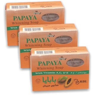 RDL Papaya Whitening Soap (Pack Of 3, 135g Each)