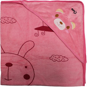 Mom's Pet Premium Hooded Soft Towel for Baby Pink