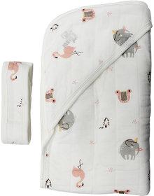 moms pet Off-White Cotton Towel cum blanket ( 81.3 cm  81.3 cm 1 pcs )