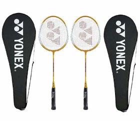 Yonex GR 303 Aluminium Blend Badminton Racquet with Full Cover (Yellow), Pack of 2PC