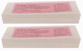 Makeup Mania 140 Pcs Large Waxing Strips, Non-Woven Hair Removal Plain Waxing Strips - White 140 Pcs
