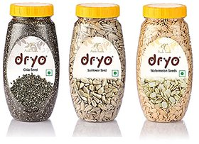 Dryo Combo Of Chia Seeds 290G & Sunflower Seeds 230G & Watermelon Seeds 250G