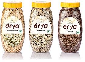 Dryo Combo Of Sunflower Seeds 230G & Raw Flax Seeds 280G & Watermelon Seeds 250G
