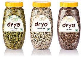 Dryo Combo Of Sunflower Seeds 230G & Raw Flax Seeds 280G & Salted Pumpkin Seeds 230G