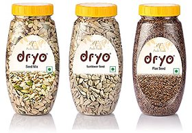 Dryo Combo Of Sunflower Seeds 230G & Raw Flax Seeds 280G & Seed Mix 250G