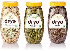 Dryo Combo Of Raw Flax Seeds 280G & Watermelon Seeds 250G & Salted Pumpkin Seeds 230G