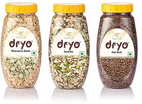 Dryo Combo Of Raw Flax Seeds 280G & Watermelon Seeds 250G & Seed Mix 230G