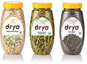 Dryo Combo Of Watermelon Seeds 250G & Salted Pumpkin Seeds 230G & Chia Seeds 290G