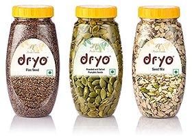 Dryo Combo Of Salted Pumpkin Seed 230G & Seed Mix 250G & Raw Flax Seeds 280G