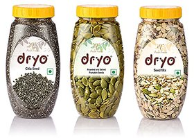 Dryo Combo Of Salted Pumpkin Seed 230G & Seed Mix 250G & Chia Seeds 290G