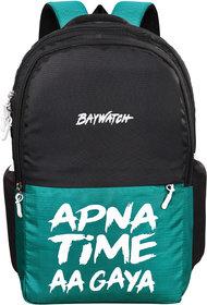 Baywatch Apna Time Aagaya 32 Litre Unisex Casual Polyester Laptop Backpack (Green-Black)
