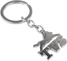 TVS Logo Silver Metal Keyring for Men Women Boys Girls Key Chain