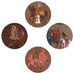 Alluring Set of 4 Printed Round Paintings by Yogine (6 inch Diameter each)