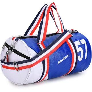Baywatch GB57 Unisex Casual PU Leather Gym Duffle Bag ll Gym Duffle Bags for Men - White Blue (White Blue)
