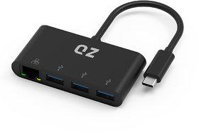 QZ USB 3.1 Type C Hub with Ethernet LAN RJ45 Gigabit Converter Adapter