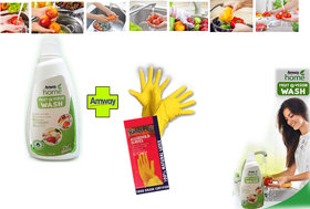 Amway Fruit and Vegetable wash 500ml with Household latex handgloves Fruit and Veggie wash germs cleaning combo pack
