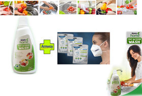 Amway Fruit and Vegetable Cleaning Liquid 500ml  with Gowell brand 2 piece n95 face 5layer FACE MASK Free Combo