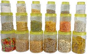 Solomon  Premium Quality Plastic Grocery Storage Container Set of 18 Pcs Storage Jar (Yellow)(300ml,700ml,1200ml)