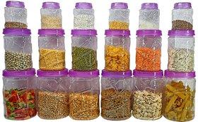 Solomon Premium Quality Plastic Grocery Storage Container Set of 18 Pcs Storage Jar (Purple)(300ml,700ml,1200ml)