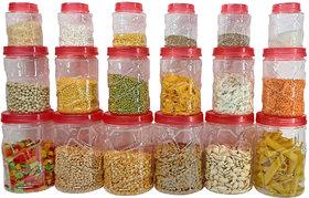Solomon Premium Quality Plastic Grocery Storage Container Set of 18 Pcs Storage Jar (Red)(300ml,700ml,1200ml)