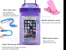 Lazywindow Waterproof Mobile Pouch, Mobile Stand And USB Flash light