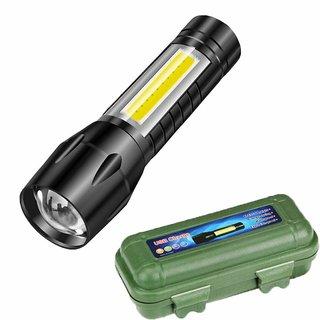 EXCLUSIVE 2021 Mini Aluminium Zoomable Flashlight XPE+COB LED Torch Lamp Penlight AA 4 Modes (Black)