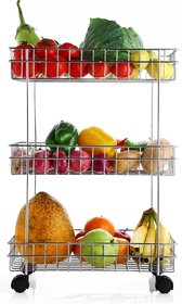 Solomon Premium Quality Stainless Steel 3 Layer Space Saving Revolving Vegetable and Fruit Trolley