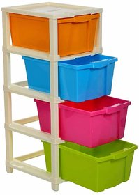 Solomon Modular Drawer System for Home and Office  (Multicolor) (4 Layer)