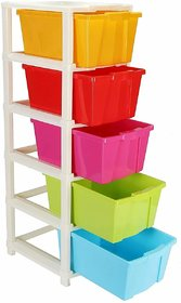 Solomon Premium Quality Modular Drawer System for Home and Office (Multicolor) (5 Layer)