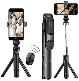 Mobile Stand with Selfie Stick and Tripod XT-02 Aluminium Alloy Bluetooth Remote Control Selfie Stick (Black)