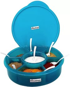 Solomon  Premium Quality 7 in 1 Prospice Masala Box / Storage Container/Salt  Pepper ContainerSpice Container (Blue)
