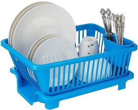 Solomon  Premium Quality 3 in 1 Large Durable Plastic Kitchen Sink Dish Rack Drainer with Drying Rack basket (Blue)