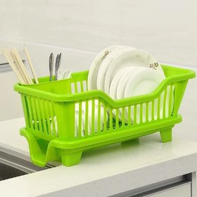 Solomon Premium Quality 3 in 1 Large Durable Plastic Kitchen Sink Dish Rack Drainer with Drying Rack basket (Green)