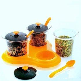 Solomon Premium Quality 3 in 1 Multipurpose Plastic Dining Achaar Jars Stand, Pickle Storage Container (Yellow)