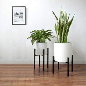 Planter Stand Metal Blacl PLUS Set of 2 Nos