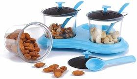 Solomon Premium Quality 3 in 1 Multipurpose Plastic Dining Achaar Jars Stand, Pickle Storage Container (Blue)