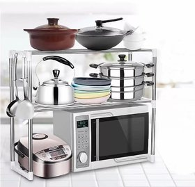 Solomon  Premium Quality Stainless Multipurpose Steel Microwave Stand  2 layer  OTG Oven Rack  Bathroom Stand