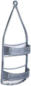 Solomon Premium Quality Bathroom Shower Caddy Hanging with Adjustable Arms Portable Organizer Basket Storage (Grey)