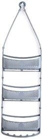 Solomon Premium Quality 3 Layer Bathroom Shower Caddy Hanging with Adjustable Arms Portable Basket Storage (Grey)