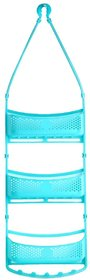 Solomon Premium Quality 3 Layer Bathroom Shower Caddy Hanging with Adjustable Arms Portable Basket Storage (Blue)