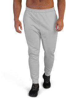 CLOTHINKHUB Light Grey Solid Polyester Slim Fit 2 Pocket Trackpant for Men