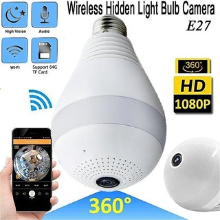 White Wireless WiFi V380 Pro 360 Fisheye Vision, Remoting Monitoring Home Security Camera LED Bulb Light with Hidden Pa