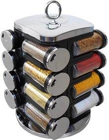 Solomon Premium Quality Multipurpose 360 Degree Revolving Square Shape Transparent Spice Rack Container (Set of 16)