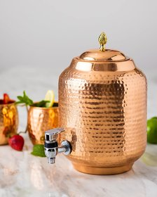 KUVI Pure Copper 5 Lt Matka/Jug Water Dispenser and One Iron Stand,2 Copper Glass 250 ml Each (5 Lt)