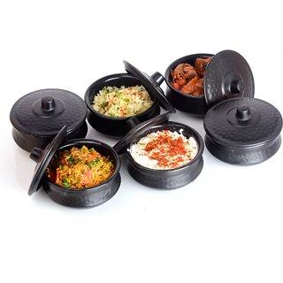 Solomon Premium Quality Multipurpose 250ml Handi Bowl for Decorative Serving Curd,Pickle,Dessert,Salad Set of 6 (Black)