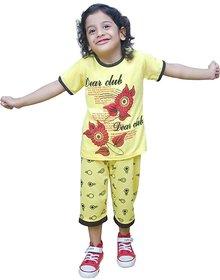Sbn Girls Yellow Top With Capri Pants