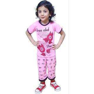 Sbn Pink Capri Top And Bottom Set For Girls